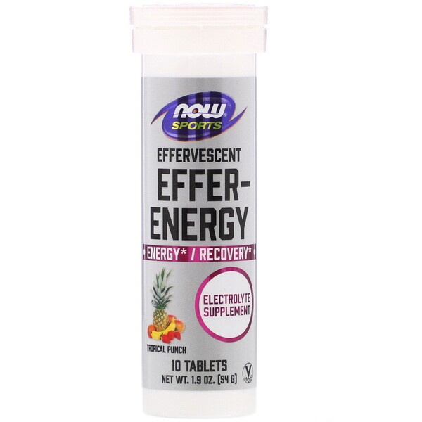 Now Foods, Sports, Effer-Energy, Tropical Punch, 10 Tablets, 1.9 oz (54 g)