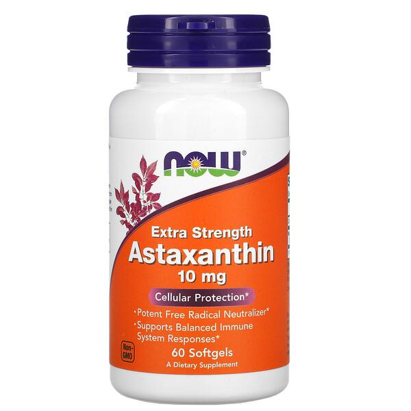 Now Foods, астаксантин, 10мг, 60капсул