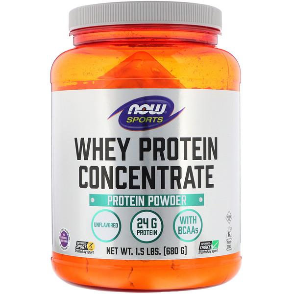 Sports, Концентрированный сывороточный протеин, натуральный без вкусовых добавок, 1.5 фунтов (680 г)