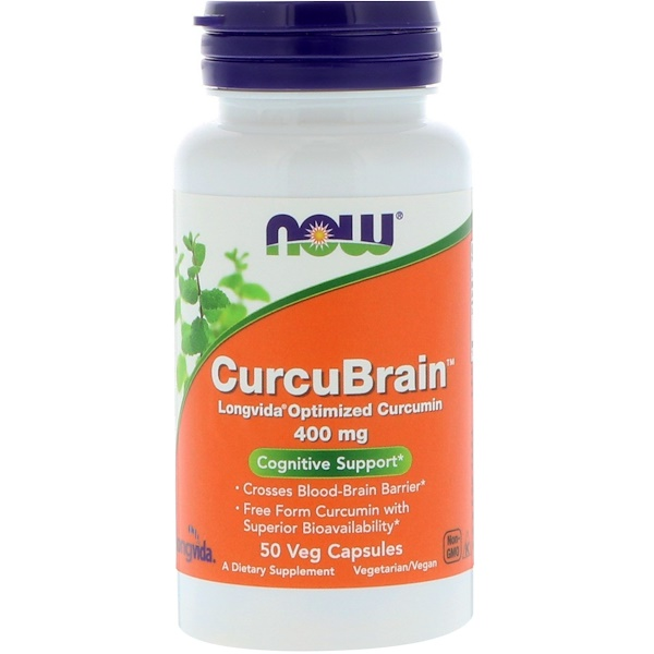 CurcuBrain, когнитивная поддержка, 400 мг, 50 растительных капсул