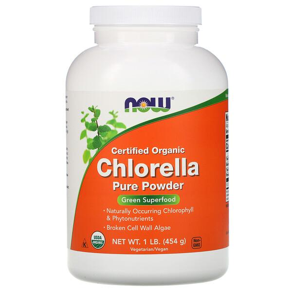 Now Foods, Сертифицированная органическая хлорелла, чистый порошок, 454 г (1 фунт)