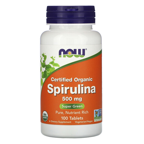 Now Foods, Certified Organic Spirulina, 500 mg, 100 Tablets