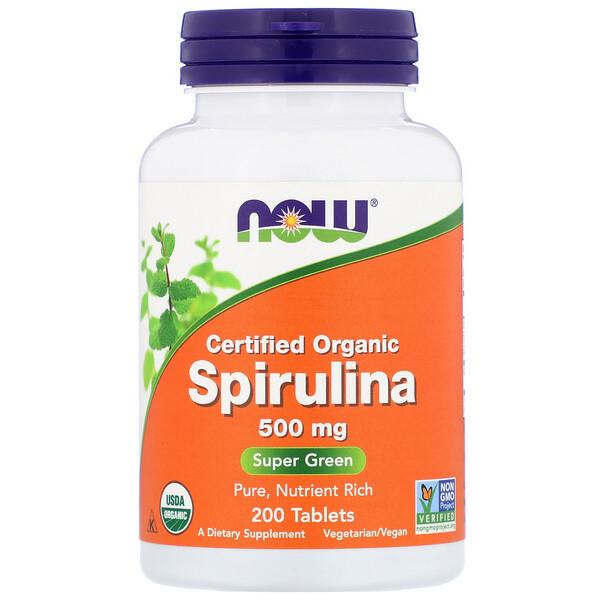 Сертифицированная органическая спирулина, 500 мг, 200 таблеток