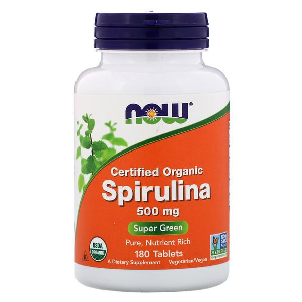 Now Foods, Сертифицированная органическая спирулина, 500 мг, 180 таблеток (Discontinued Item)