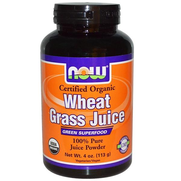 Now Foods, Organic, сок ростков пшеницы, 100 % чистый сок в порошке, 4 унции (113 г) (Discontinued Item)