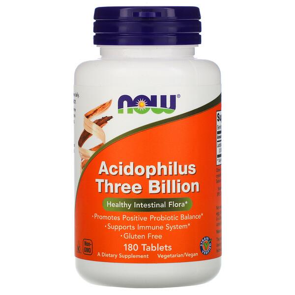 Now Foods, Стабилизированный ацидофилус, 3 млрд единиц, 180 таблеток