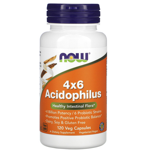 4x6 ацидофильные бактерии, 120 растительных капсул