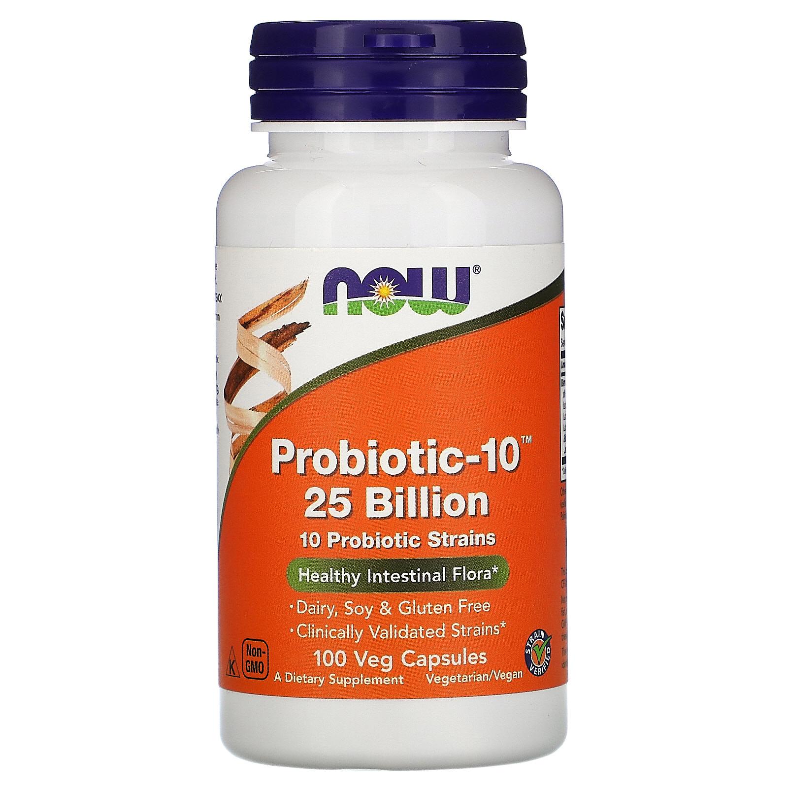 Now Foods, Probiotic-10, 25 млрд, 100 растительных капсул
