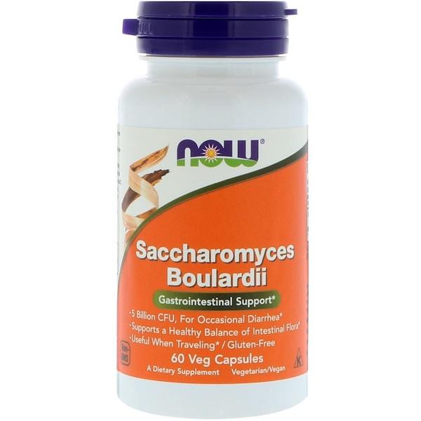 Now Foods, Сахаромицеты Буларди, поддержка желудочно-кишечной системы, 60 растительных капсул