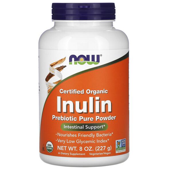 Сертифицированный органический инулин, пребиотик в чистом порошке, 227г