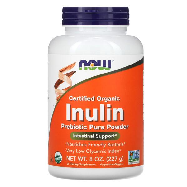 Now Foods, сертифицированный органический инулин, пребиотик в чистом порошке, 227г (8унций)