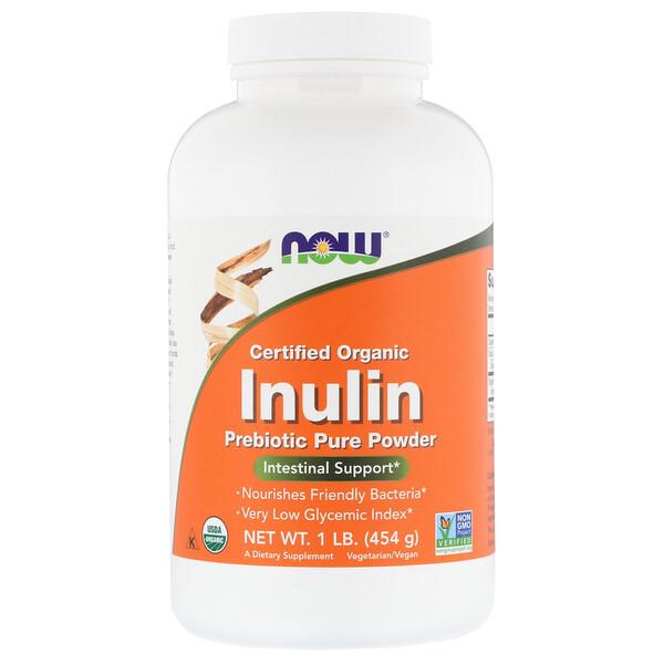Now Foods, Сертифицированный органический инулин, пребиотик в чистом порошке, 454г (1фунт)