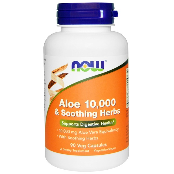 Now Foods, Aloe 10,000 & Soothing Herbs, 90 Veg Capsules (Discontinued Item)