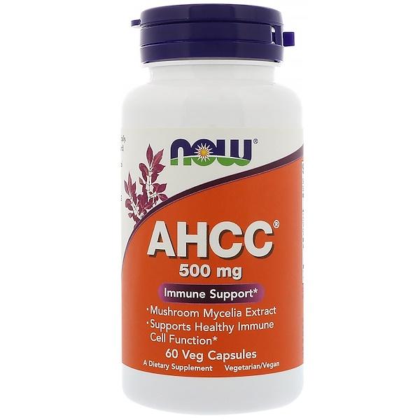 Now Foods, AHCC, 500 мг, 60 растительных капсул (Discontinued Item)