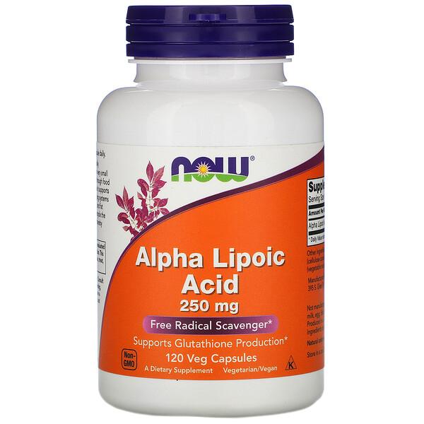 Альфа-липоевая кислота, 250 мг, 120 вегетарианских капсул