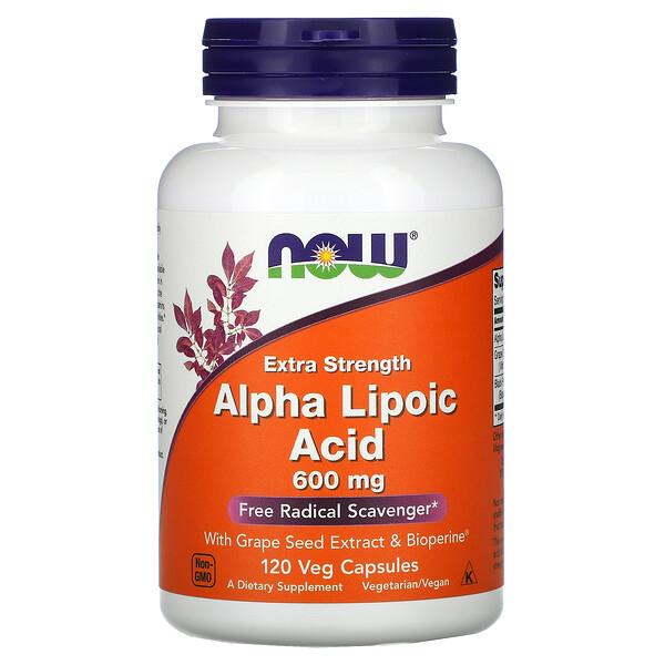 Альфа-липоевая кислота, экстра сила, 600 мг, 120 растительных капсул
