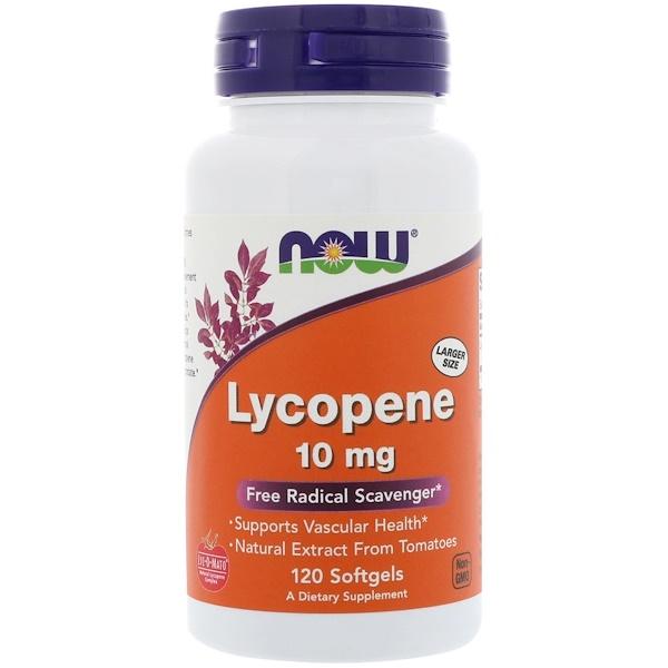 Now Foods, Ликопин, 10 мг, 120 мягких желатиновых капсул
