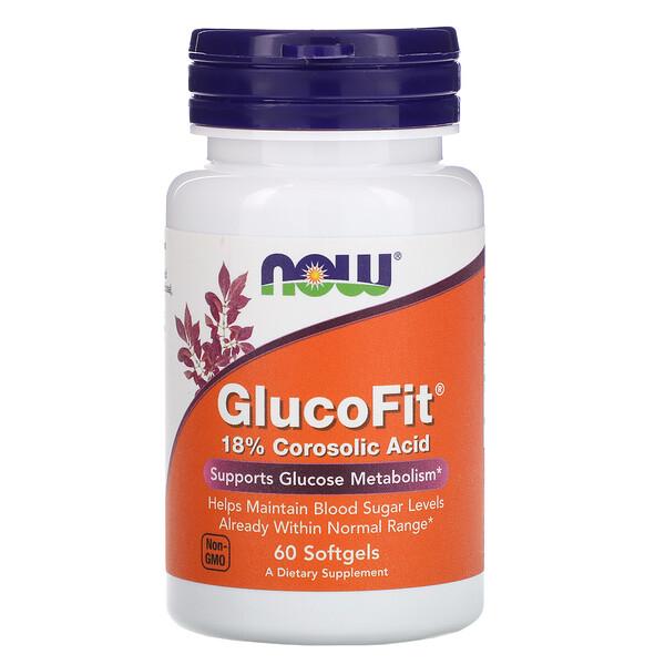Now Foods, GlucoFit, 60 мягких желатиновых капсул