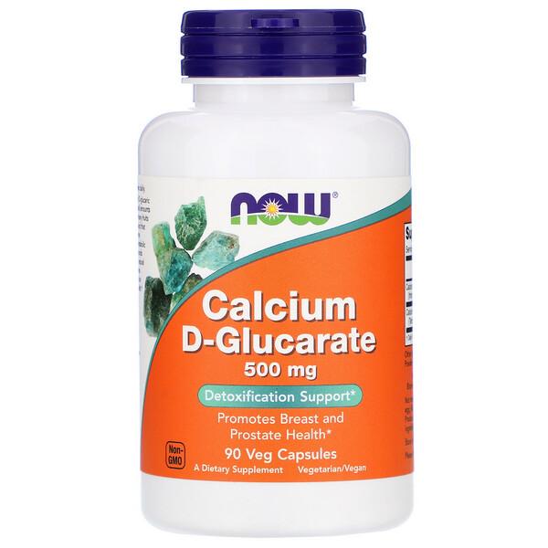Now Foods, D-глюкарат кальция, 500мг, 90растительных капсул