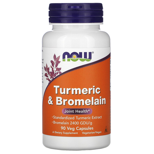 Now Foods, Куркума и бромелаин, 90 растительных капсул