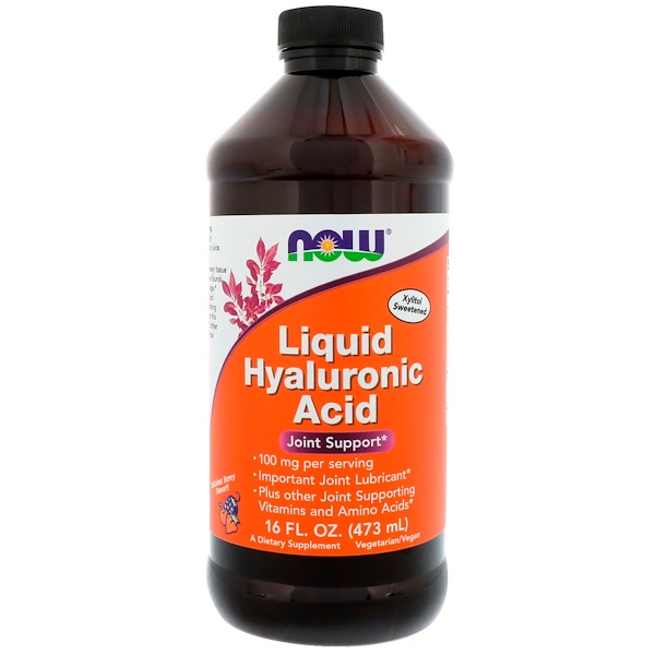 Now Foods, Жидкая гиалуроновая кислота, со вкусом ягод, 100 мг, 473 мл (16 жидких унций)