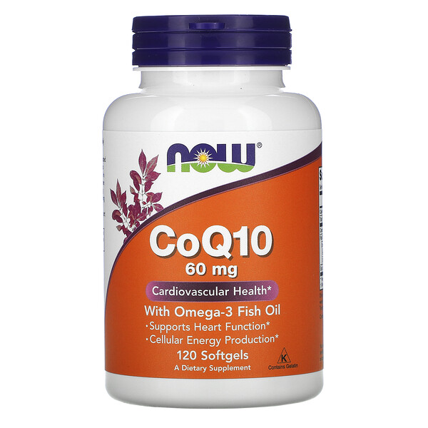 CoQ10 с рыбьим жиром с омега-3, 60 мг, 120 мягких желатиновых капсул