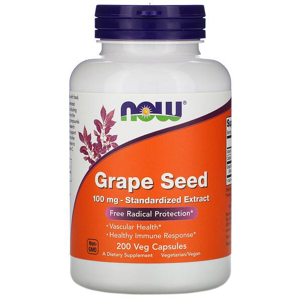 Now Foods, Стандартизированный экстракт из виноградных косточек, 100 мг, 200 растительных капсул
