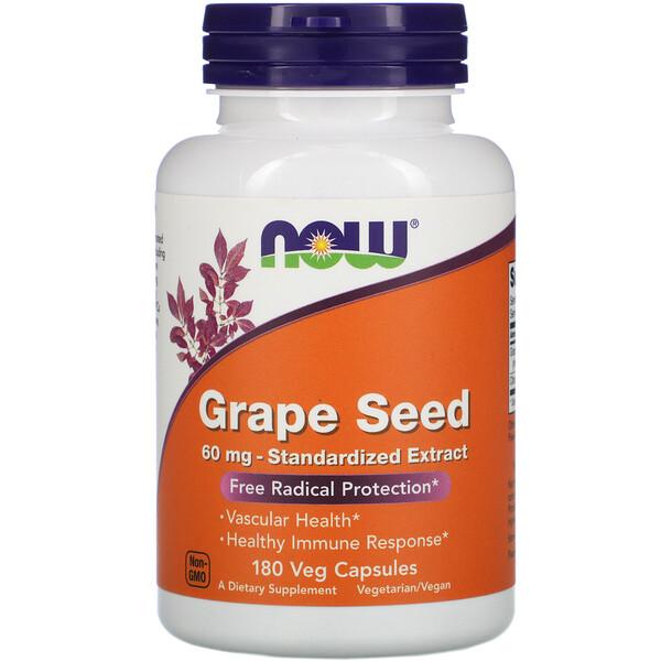 Now Foods, Стандартизованный экстракт из виноградных косточек, 60 мг, 180 растительных капсул