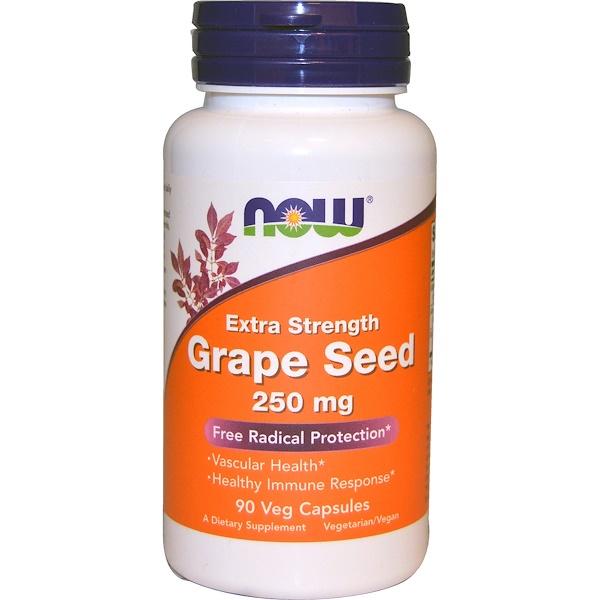 Now Foods, Виноградная косточка, с повышенной силой действия, 250 мг, 90 растительных капсул