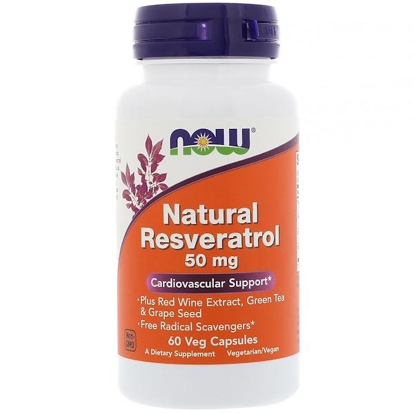 Now Foods, Натуральный ресвератрол, 50 мг, 60 растительных капсул