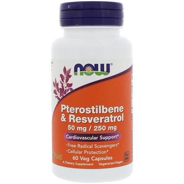 Now Foods, Pterostilbene & Resveratrol (птеростильбен и ресвератрол), 50 мг / 250 мг, 60 вегетарианских капсул (Discontinued Item)