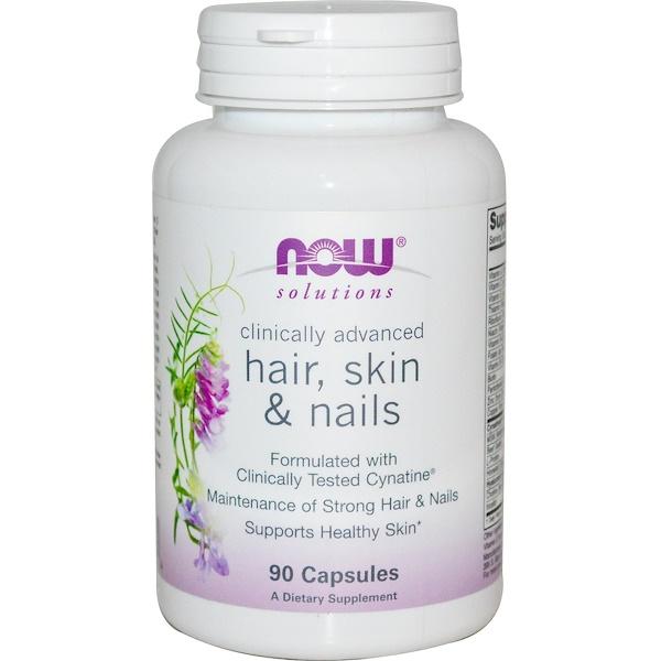 Now Foods, Solutions, средство для поддержания здоровья волос, кожи и ногтей, 90 капсул