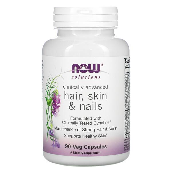 Now Foods, Solutions, для здоровья волос, кожи и ногтей, 90вегетарианских капсул