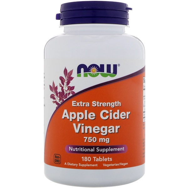 Now Foods, Яблочный уксус, повышенная сила действия, 750мг, 180таблеток