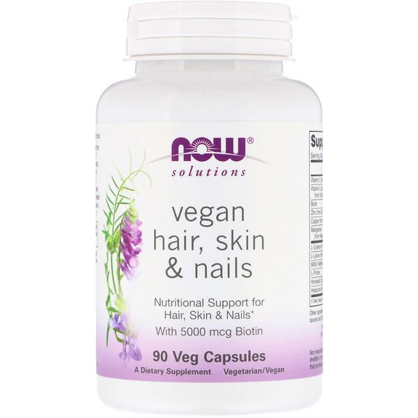 Now Foods, Solutions, веганская добавка для здоровья волос, кожи и ногтей, 90растительных капсул