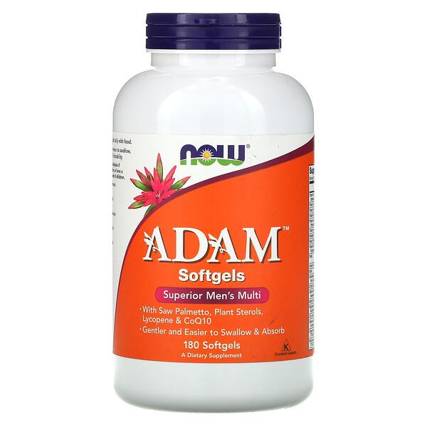 Now Foods, ADAM, превосходные мультивитамины для мужчин, 180 мягких таблеток