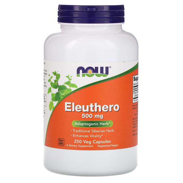 Now Foods, Eleuthero, 500 мг, 250 растительных капсул
