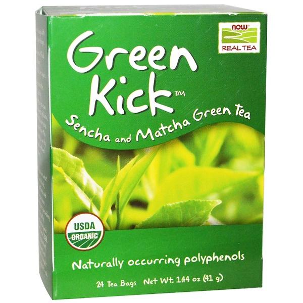Настоящий чай, Green Kick, зеленый чай сенча и матча, 24 чайных пакетика, 1.44 унций (41 г)