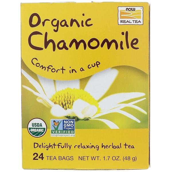 Now Foods, Organic Real Tea, Chamomile, 24 Tea Bags, 2 g Each