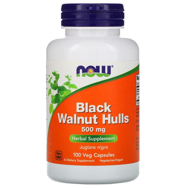 Now Foods, Скорлупа черного ореха, 500 мг, 100 растительных капсул