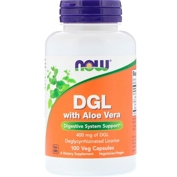 Now Foods, Глицирризинат корня солодки с алоэ вера, 400 мг, 100 растительных капсул