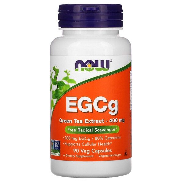 EGCg, экстракт зеленого чая, 400 мг, 90 растительных капсул