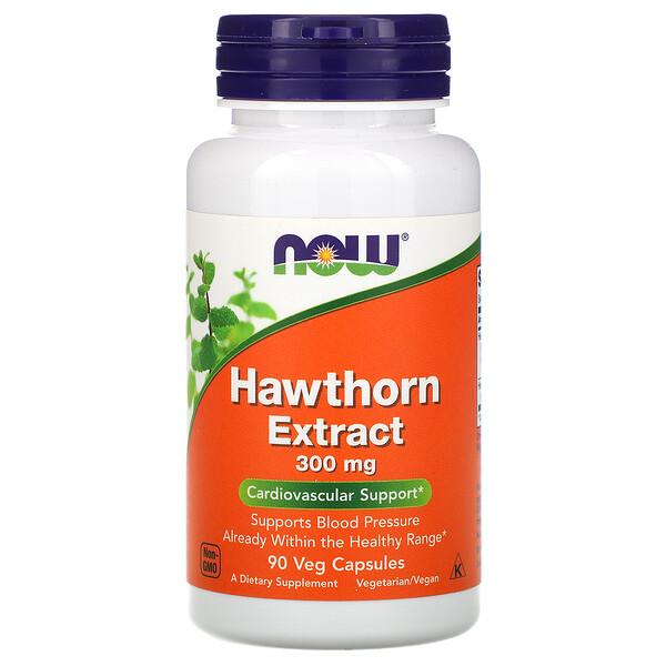 Now Foods, Экстракт боярышника, 300 мг, 90 растительных капсул