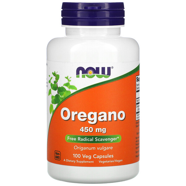 Орегано, 450 мг, 100 растительных капсул