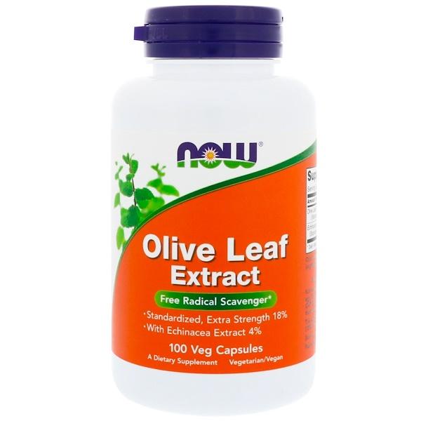 Now Foods, Экстракт из листьев оливы, 100 растительных капсул