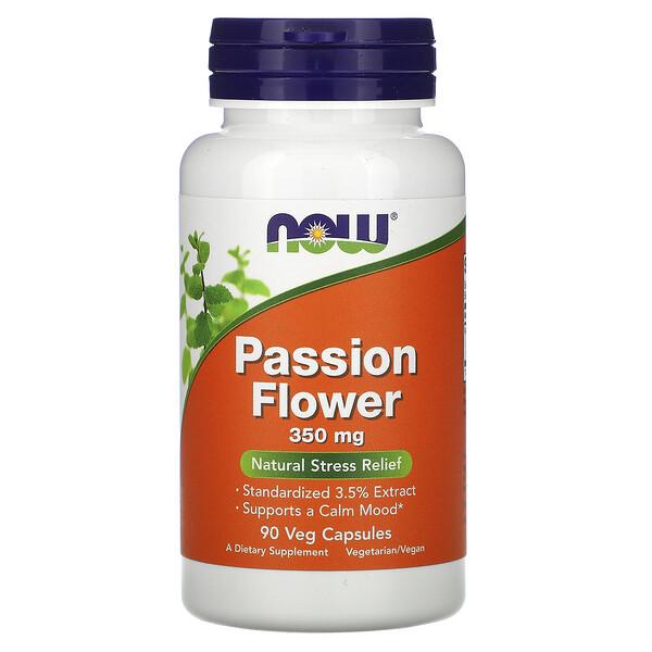 Now Foods, Пассифлора, 350 мг, 90 растительных капсул