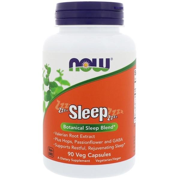 Now Foods, Sleep, растительная смесь для сна, 90 растительных капсул