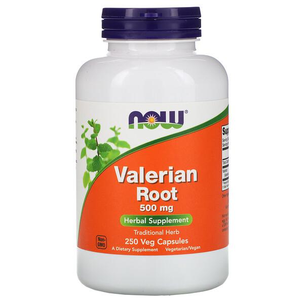 Now Foods, Корень валерианы, 500 мг, 250 растительных капсул