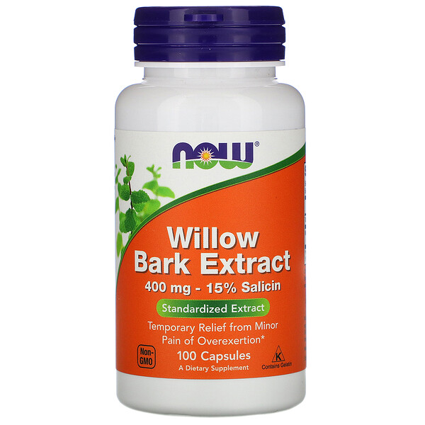 Экстракт коры ивы, 400 мг, 100 капсул