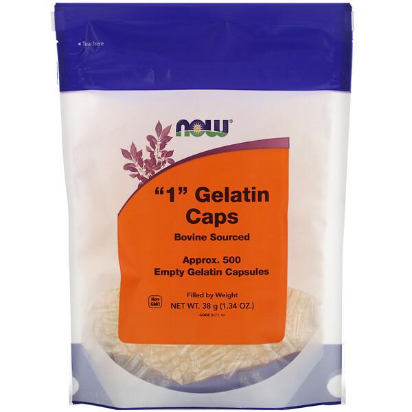 "Now Foods, ""1"" Gelatin Caps, Approx. 500 Empty Gelatin Capsules"
